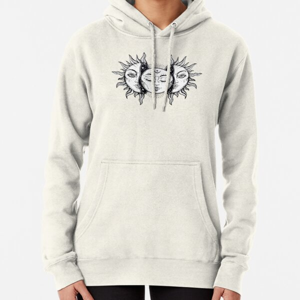 Vintage Solar Eclipse Sun and Moon Pullover Hoodie