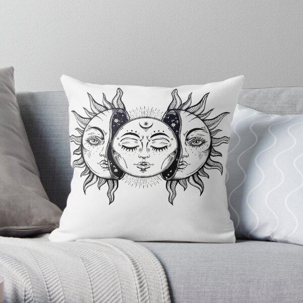 Vintage Solar Eclipse Sun and Moon Throw Pillow