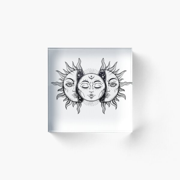 Vintage Solar Eclipse Sun and Moon Acrylic Block