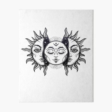 Vintage Solar Eclipse Sun and Moon Art Board Print