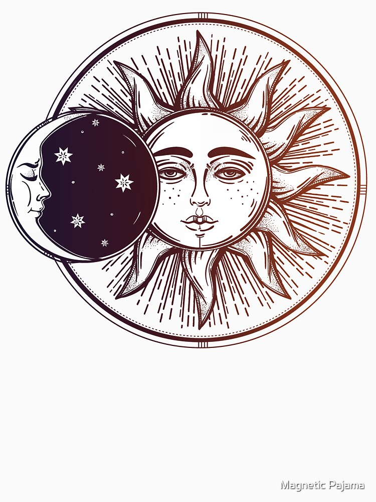 Vintage Solar Eclipse: Sun, Moon and Stars by MagneticMama