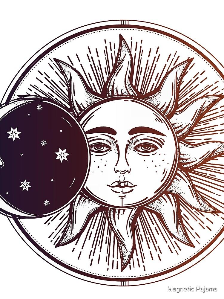 Vintage Sonnenfinsternis: Sonne, Mond und Sterne von MagneticMama