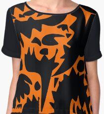 Halloween Bats and Monsters in the Orange Night Pattern Women's Chiffon Top