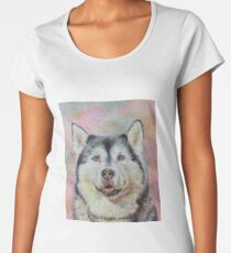 photorealstic husky portrait Women's Premium T-Shirt