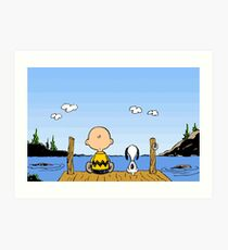 Charlie Brown Snoopy On Dock Art Print