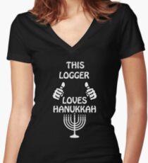 Logger Hanukkah funnyshirt Women's Fitted V-Neck T-Shirt