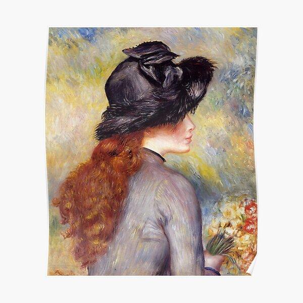 Vintage Pierre Auguste Renoir Girl with flowers Fine Art Poster