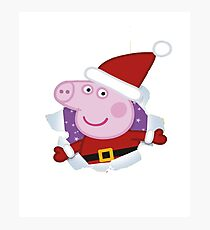 Merry Pigmas - Merry Christmas love Pigs Photographic Print
