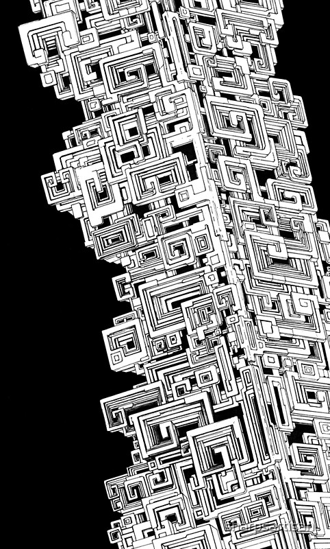 Bismuth Abstract Black And White Pen Drawing Art Print