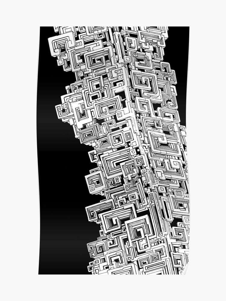 Bismuth Abstract Black And White Pen Drawing Poster