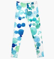 Blue bubbles painted in watercolor Leggings