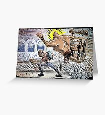 Escape From New York John Carpenter Sci Fi Dystopian Future Science Fiction movie film action illustration joe badon drawing cartoon Greeting Card