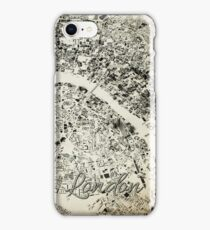 London Streets and Buildings Map Antic Vintage Design iPhone Case/Skin