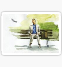 Watercolor painting illustration - Tom Hanks, Forrest Gump on the bench Sticker