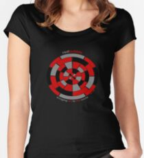 """Redbubble """"bringing art to the world' design 1 Women's Fitted Scoop T-Shirt"""