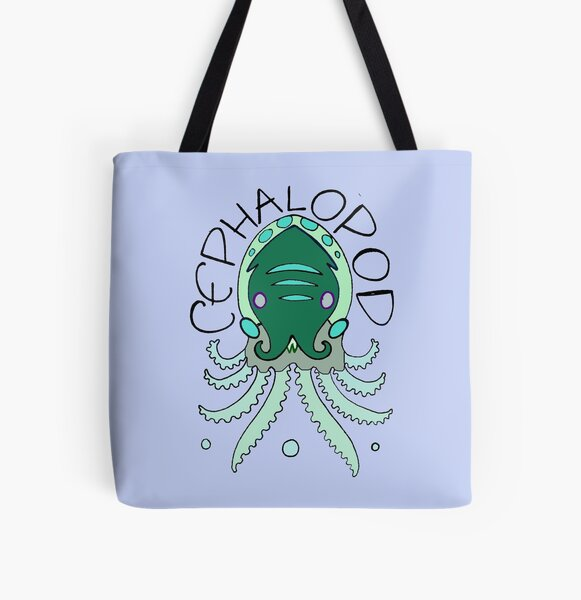 cephalopod in greens and blue All Over Print Tote Bag