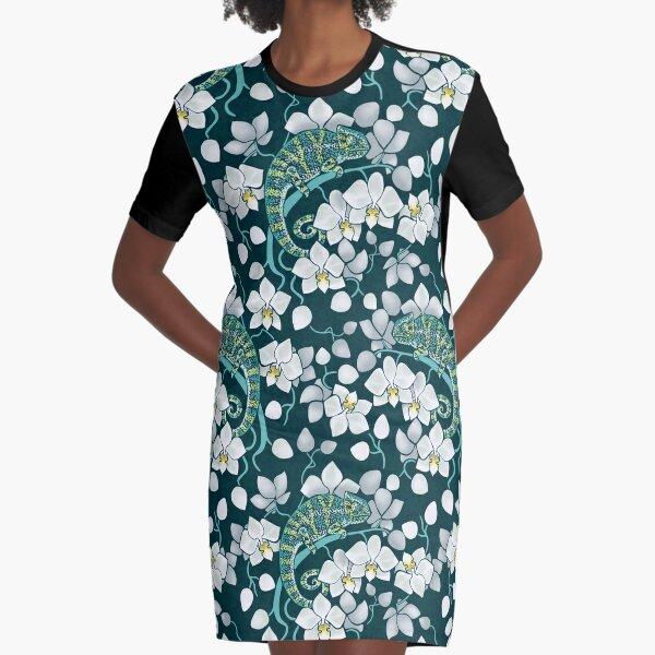 Chamäleons und Orchideen T-Shirt Kleid