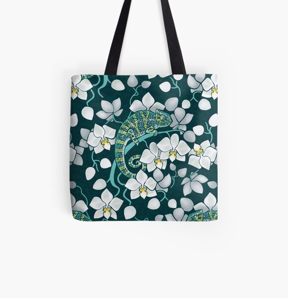chameleons and orchids  All Over Print Tote Bag