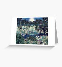 Midnight Moonlight at the Magic Moor Greeting Card