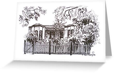 Bellair St Kensington Melbourne. Pen sketch.  by Elizabeth Moore Golding