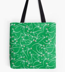 Merry Christmas Raptor - White w/ Red Hat Tote Bag