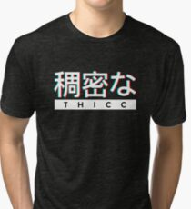 """Aesthetic Japanese """"THICC"""" Logo Tri-blend T-Shirt"""