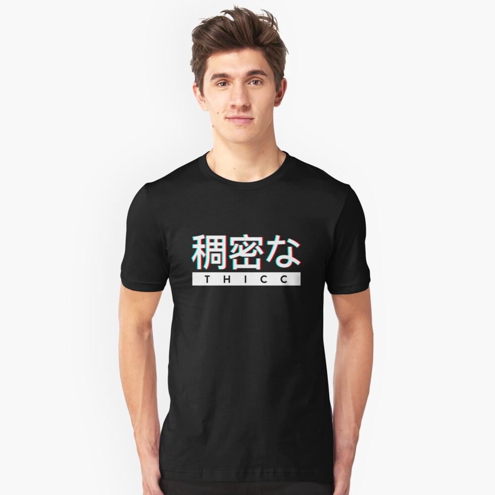 """Ästhetisches japanisches """"THICC"""" -Logo Slim Fit T-Shirt"""