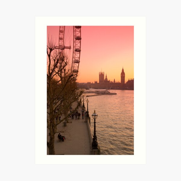 UK, England, London, Big Ben and London Eye (Alan Copson ©) Art Print