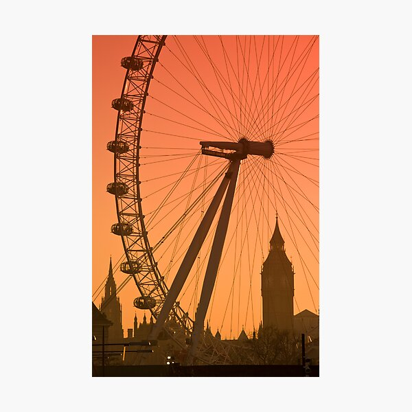 UK, England, London, Big Ben and London Eye (Alan Copson ©) Photographic Print