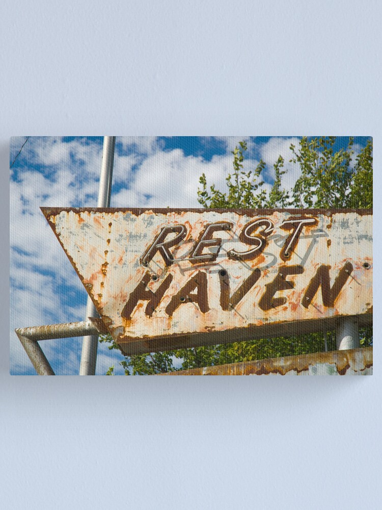 Alternate view of  Route 66. Afton. Old Rest Haven Motel sign. (Alan Copson © 2007) Canvas Print