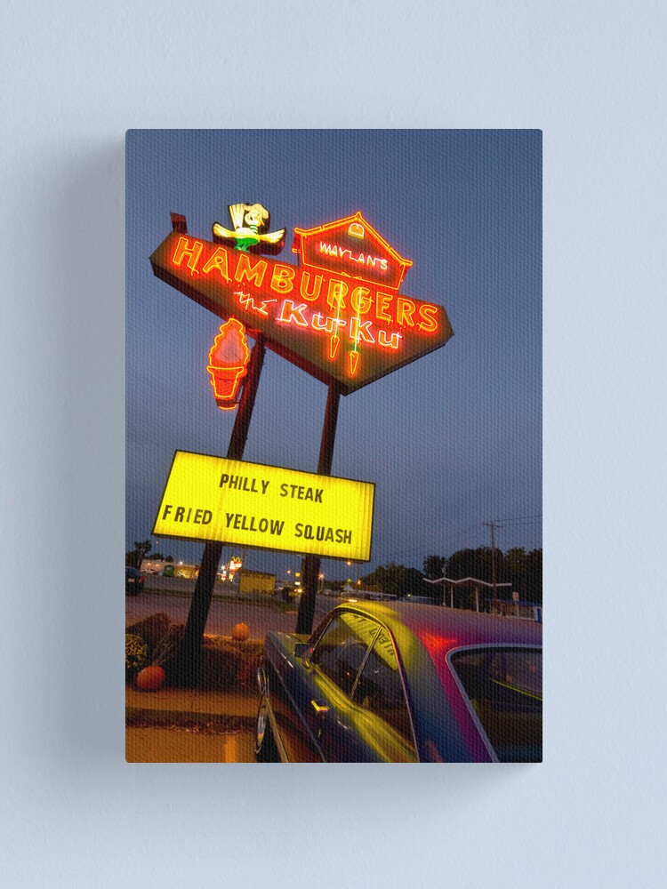 Alternate view of Route 66. Miami. Waylan's Ku Ku Burgers (Alan Copson © 2007) Canvas Print