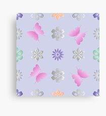 Seamless background with flowers and butterflies Canvas Print