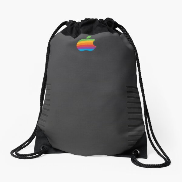 Black Retro iPhone Drawstring Bag