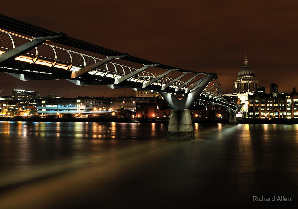 Millennium Bridge at Night - Wider by Lea Valley Photographic