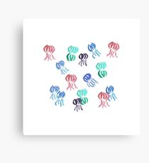 Jellyfishes on White Canvas Print