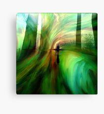 camino verde - lea roche painting - abstract green landscape Canvas Print