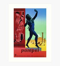 Pompeii Pompei Vintage Italian travel advert Art Print