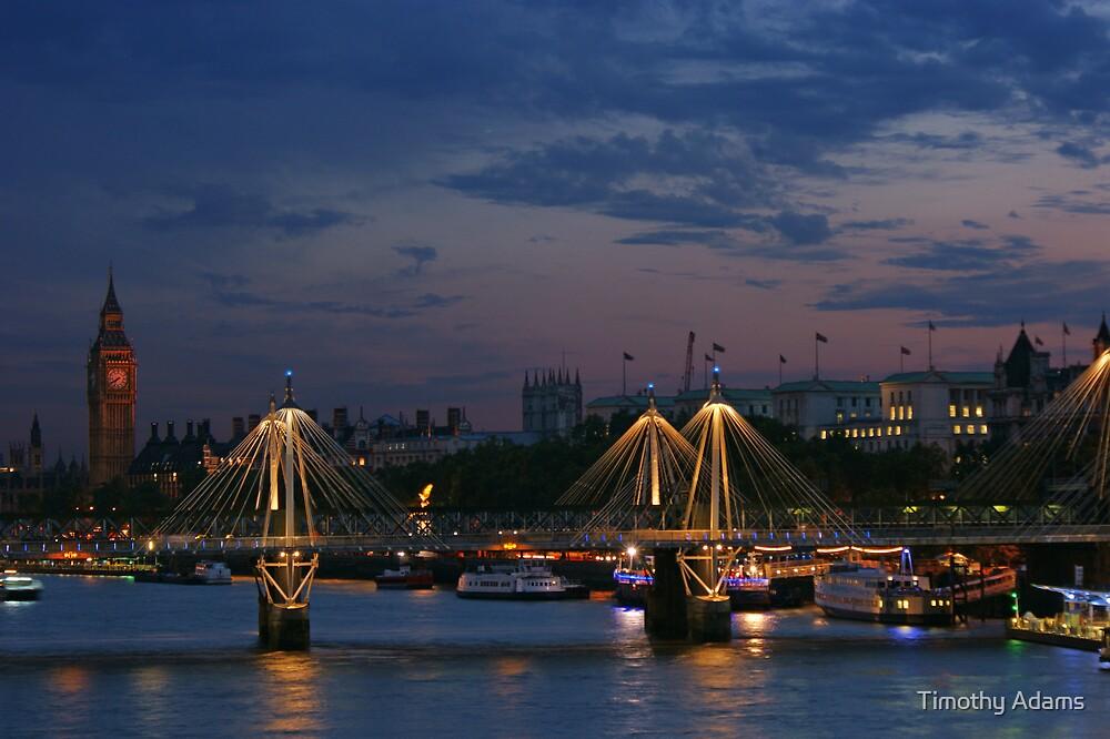 Hungerford Bridge at dusk by Timothy Adams