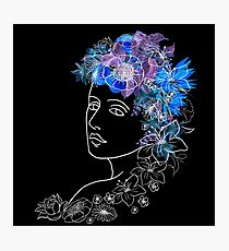 With flowers in her hair Photographic Print