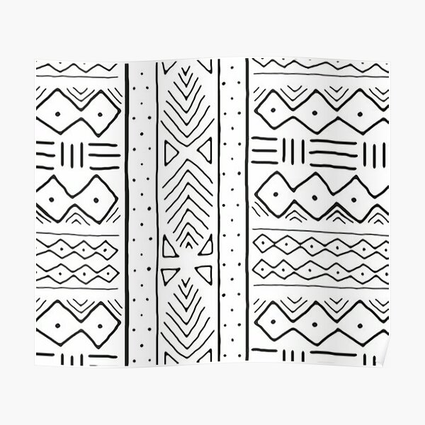 african mudcloth white Poster