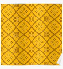 Yellow Ornamental Seamless Line Pattern. Endless Texture. Oriental Geometric Ornament Poster