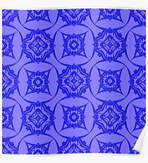 Blue Ornamental Seamless Line Pattern. Endless Texture. Oriental Geometric Ornament Poster
