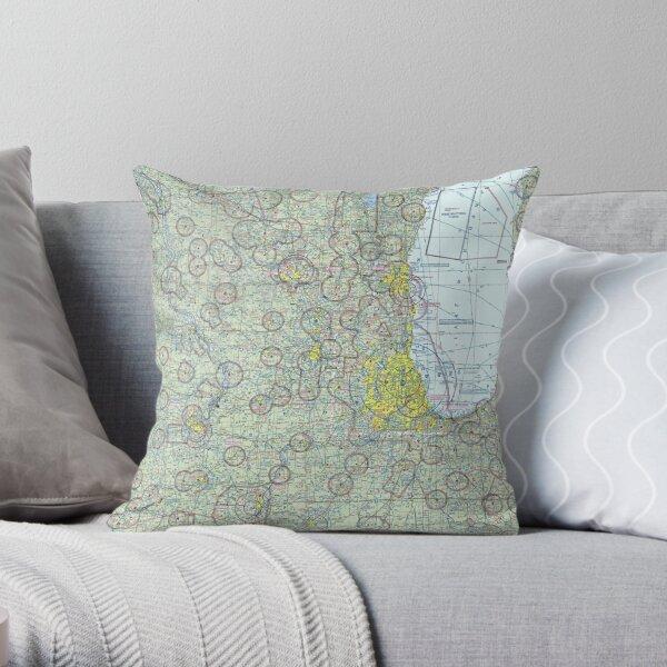 Chicago Sectional Aeronautical Chart Throw Pillow