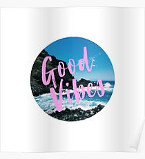 Good Vibes Tropical Beach Poster