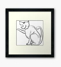 The Black and White Contour of the Dog. Framed Print