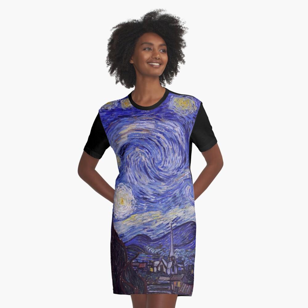 Vincent Van Gogh Starry Night Graphic T-Shirt Dress