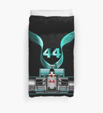 Lewis Hamilton on his car Duvet Cover