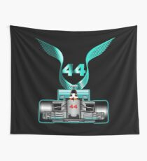 Lewis Hamilton on his car Wall Tapestry