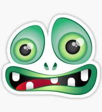 Muzzles of green cute monsters Sticker