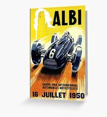 ALBI : Vintage 1950 Grand Prix Auto Racing Print Greeting Card